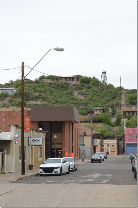 N Keystone Ave. in Miami AZ, with copper mine head frame in background. Thursday 05-02-2019.