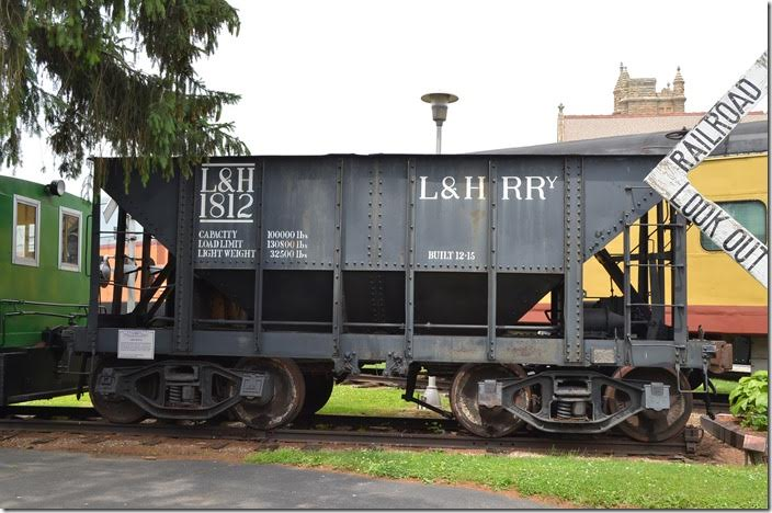 The ore hopper at the Mad River & Nickel Plate Railroad Museum in Bellevue KY was acquired from Standard Slag Co. in Youngstown. Whether it was originally Lehigh & Hudson River Ry., I don't know. 06-19-2015. L&H wasn't a valid reporting mark for the L&HR, as far as I can tell. L&HR hopper 1812. Bellevue KY.