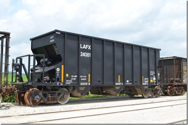 Lafarge Corp (LAFX) hopper 24081 was built by National Steel Car of Hamilton, Ont., in 07-2008. It was parked bad-ordered at National Lime's plant at Carey OH on 06-18-2015. Series is LAFX 24001-24225.