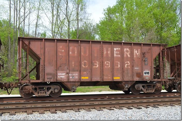 SOU hopper 103932 built 03-1975, 2100 cubic feet. Prichard WV. I have shots of these in ore service at Gadsen AL.