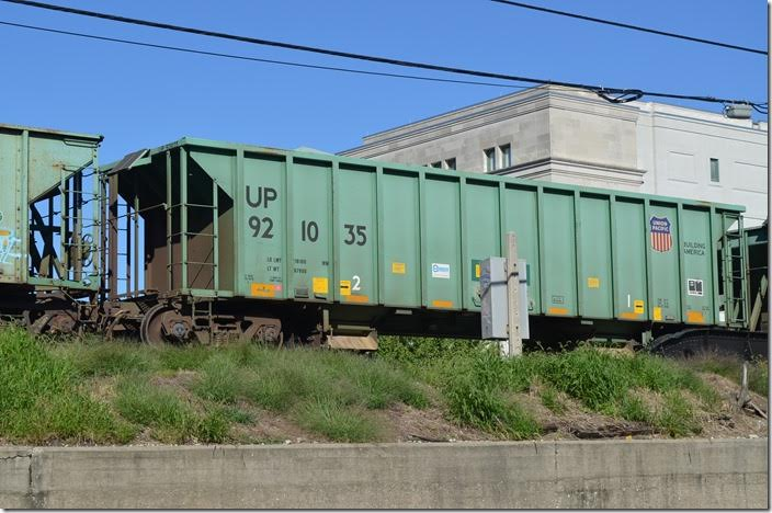 Union Pacific ballast hopper 921035. 218,000, 2400 cubic feet. Built by Kasgro. Springfield IL. 09-22-2014.