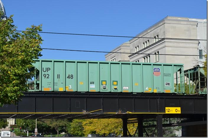 UP ballast hopper 921148. Springfield IL.