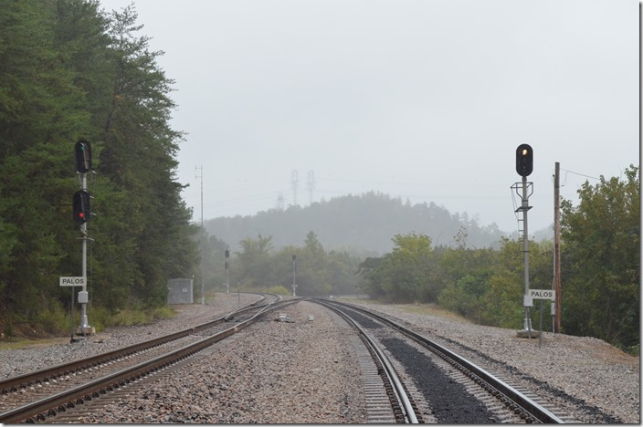 Looking south on the Birmingham SD on the left and the switch to the power plant on the right. Palos AL. BNSF signals.
