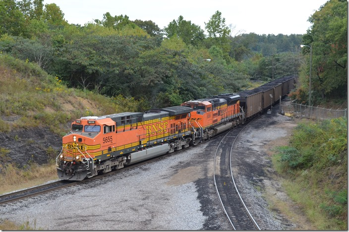 BNSF 5655-8566 start around the loop with 130 JHMX, APOX, HYWX, FURX, RWSX and CNFX loads of PRB coal from Wyoming. Arrriving Miller Plant.