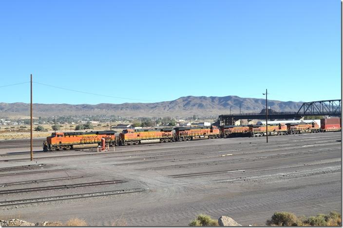 BNSF 6983-4330-6911 await a crew to go toward L.A. or San Francisco. Barstow CA.