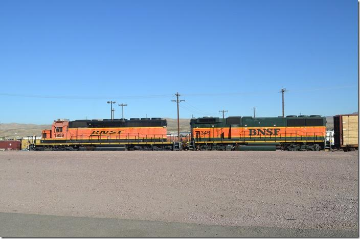 BNSF SD40-2 1859 and GP60B 345 are the hump engines. Barstow CA.