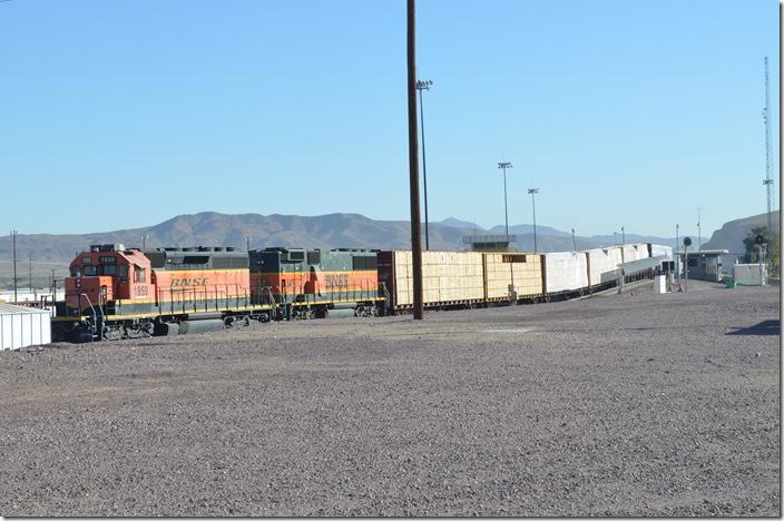 Looking east. BNSF 1859-345 hump engines. Barstow CA.