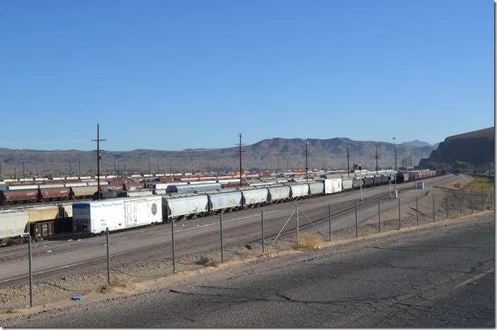 The BNSF classification yard looking east. We didn't linger too long for obvious reasons. Barstow CA.