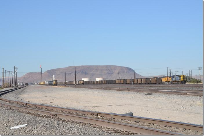 East end of yard looking west. UP 8493 7768 CSX 467. Yermo CA.