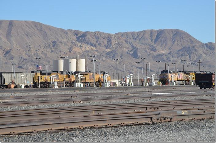 DPU helpers UP 8562-7768 are spotted for fueling. Yermo CA.