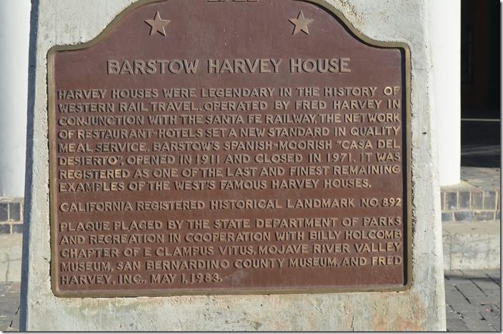 Barstow Harvey House plaque. Barstow CA.