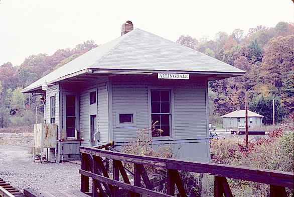 Former B&O depot and train order office at Allingdale, W.Va. Oct. 24, 1986. View 2.