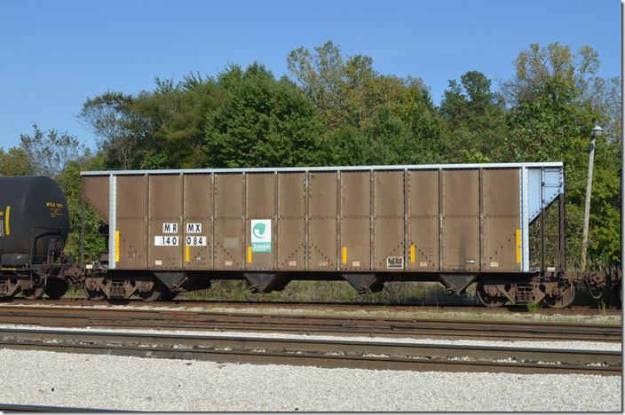 MRMX (Midwest Railcar Corp.) hopper 140084 was built by Trinity. On the Indiana Railroad at Jasonville IN. 09-19-2014.