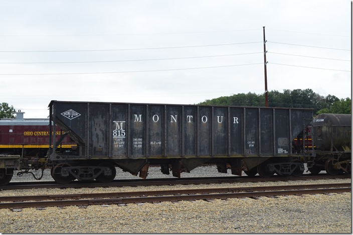 Montour Railroad hopper 815. Age of Steam Roundhouse, Sugar Creek OH. 08-20-2014. Ex-Pittsburgh Coal Co. Built 1943.