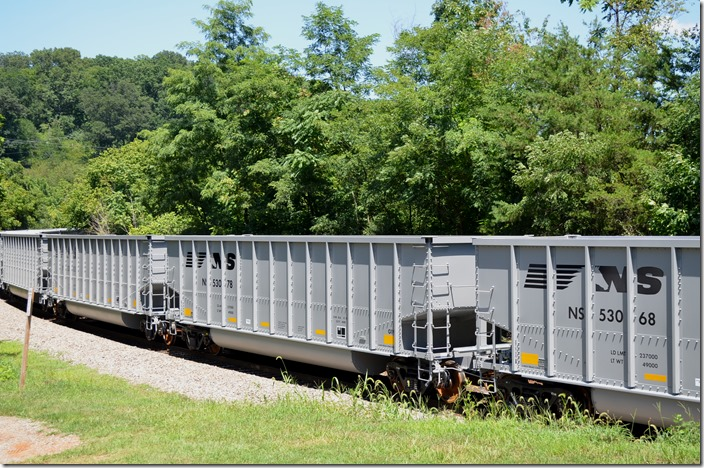 New NS tubs 53068 and 53078 were on northbound Roanoke District 815-28 (Roanoke to Shire Oaks, PA 103 mtys) passing Natural Bridge, VA on 07-31-2015.