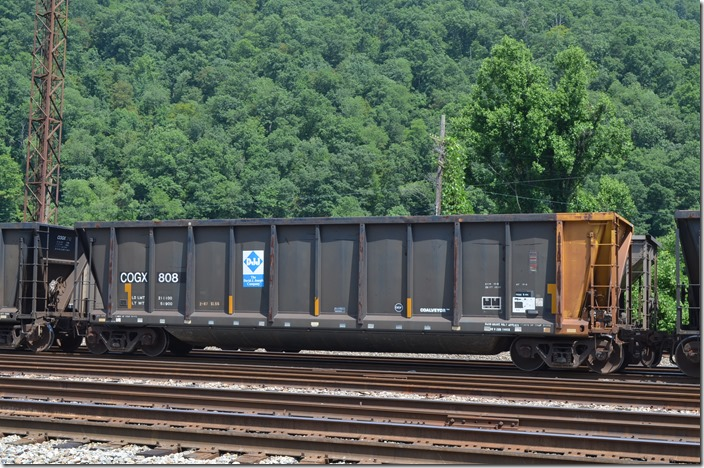 "COGX gon 808, ACF ""Coalveyor"" built 01-1981. 200,000 load limit, 4240 cu ft. In scrap tie service at Shelby KY on 07-25-2015."