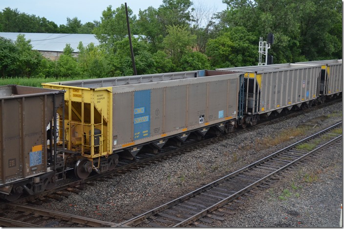 CMO hopper 506020 (UP) on a westbound empty coal train on CSX's Indianapolis Line SD at Marion OH, 06-18-2015. CMO was C&NW subsidiary Chicago, St. Paul, Minneapolis & Omaha Ry.