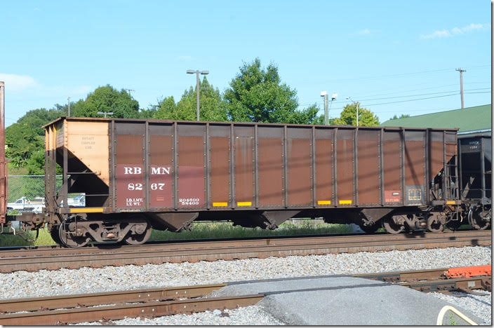 Reading, Blue Mountain & Northern (RBMN) hopper 8267 is 204,600 load limit, 3418 cu ft and built 07-1975. Seen at Lynchburg VA on 08-2015, it is loaded with anthracite coal from Good Spring PA and bound for Kinder-Morgan's terminal in Charleston SC. I wonder if this car didn't come from Pennsylvania Power & Light (PPLX) which had cars of 3418 volume and built around the same time.