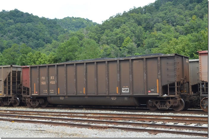 Wells Fargo Rail (FURX), fka First Union Rail, tub 960450. 4358 cu ft, 241,800 load limit, build 03-1995. Shelby KY 08-12-2018.