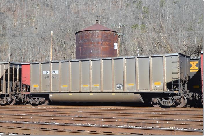 HIPX gon 98535 was built by Johnstown America 02-1998, has a load limit of 244,200 and a volume of 4480. It is ex-PMRX (Progress Rail), nee-MARX (MidAmerican Energy Co.). HIPX is confusingly NRG Energy Co., Reliant Energy, Houston Industries or Houston Light & Power. Go with NRG Energy. Shelby KY.