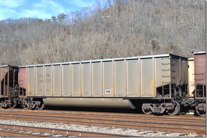 HIPX gon 24177 was built by Freight Car America at Danville IL 12-1977. It has 244,100 load limit and 4480 volume. Both of these tubs were at Shelby KY on 02-02-2020.