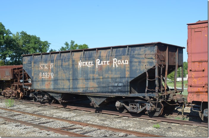NKP hopper 64370 is in Whitewater Valley's vintage collection at Connersville IN. The trucks were embossed W&LE, and Wheeling & Lake Erie had hoppers like these.