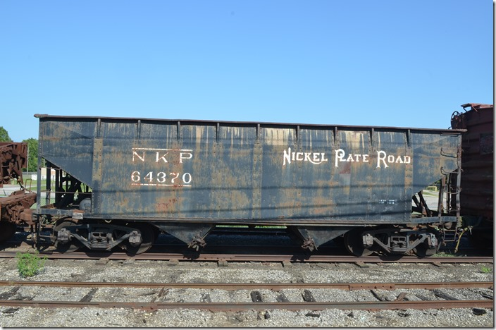 Nickel Plate's New Castle Div. came in to Connersville from the north. NKP hopper 64370. View 2. Connersville IN.