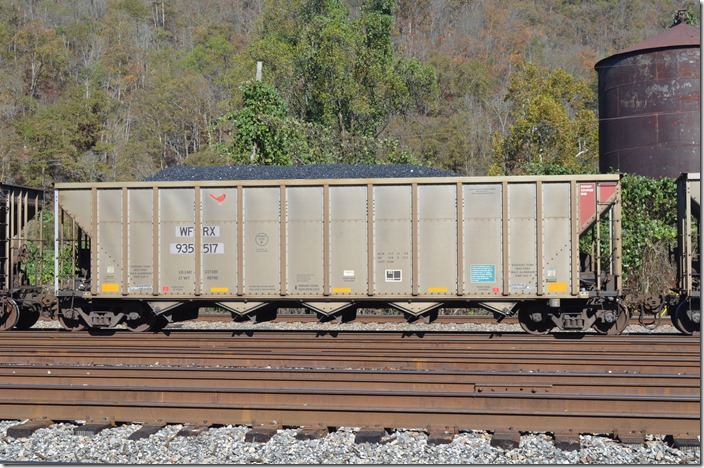 WFRX, MILX, FURX and NDYX are now Wells Fargo Rail. WFRX hopper 935517 was built by Freight Car America's Roanoke VA plant (now closed I think) in 05-2007. It has 4200 cubic feet volume. It is ex-BUKX (Louisville Gas & Electric) 120912, nee-BNBX (Greenbrier Management Services) same number. Shelby KY.