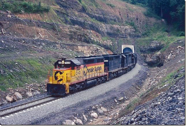 C&O 7429. Coming out of west portal of tunnel. Coal Run SD.