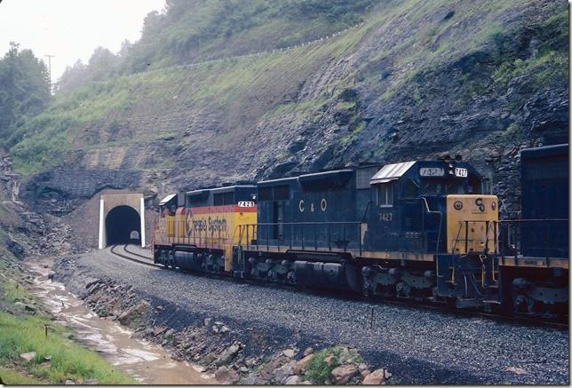 C&O 7429. Second cut about to top grade at east portal of tunnel. Coal Run SD.