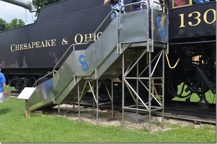 These steps were used to demonstrate the 500-series steam turbine-electrics to the public. C&O 1308. Stairs.
