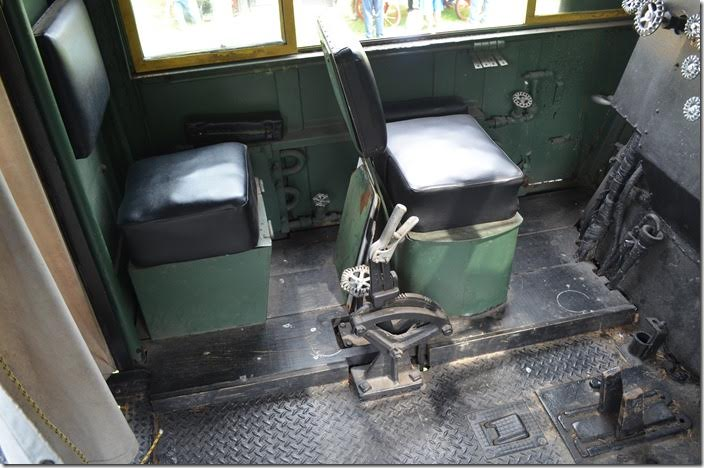 Seats for the fireman and head brakeman. Grate shakers and injector lever. C&O 1308 fireman's side.