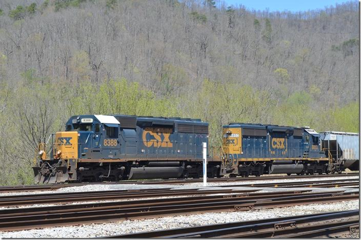 8388 is a SD40-2 upgraded from a SD40. 8853 is an ex-Conrail SD40-2. Shelby.