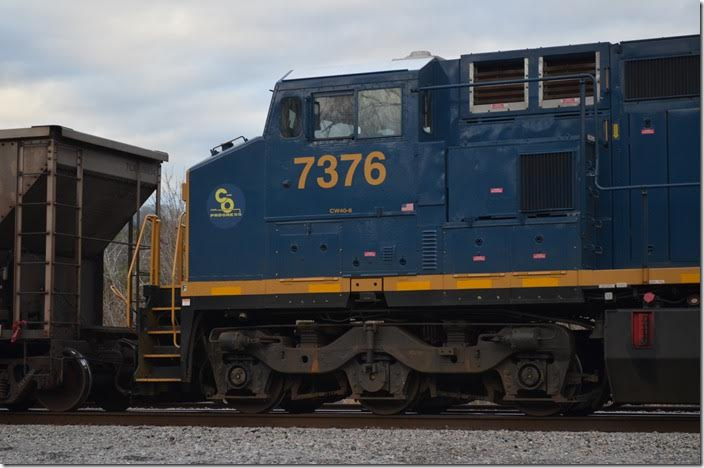 """C&O"" C40-8W 7376 is actually an ex-Conrail unit. Shelby."