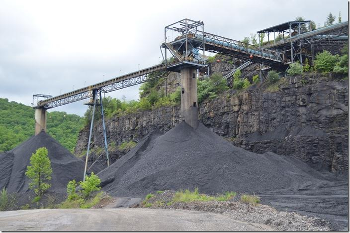 Premier Elkhorn Coal's clean coal stockpile at the Myra Mine on the SV&E Subdivision. 05-21-2016. At that time Premier was loading about 6 trains for Virginia Power each month.
