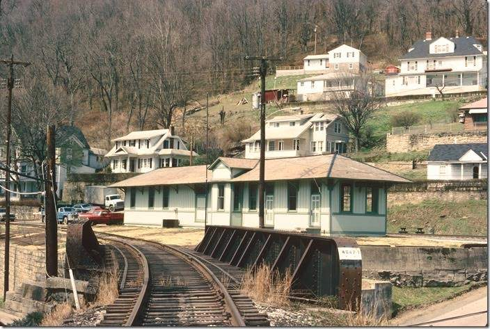 Restored depot at Gauley Bridge. Track in foreground is the connection with the C&O.