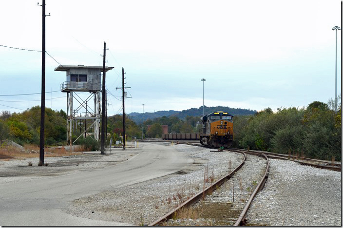 Abandoned yardmasters tower at south end with stairs removed to prevent intruders. The 866 was idling. CSX Corbin KY.