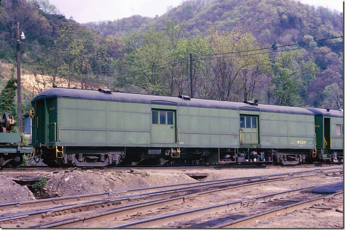 I'm not sure of the former Reading number on this baggage car nor the vintage of either one. There were several pictures of this equipment in RDG Color Guide to Freight and Passenger Equipment by Craig Bossler (Morning Sun). I wish I had shot the boom flats also. Russell wreck train.