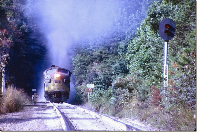 CRR 809 leads #26 out of Pool Point Tunnel on 09-05-1971.