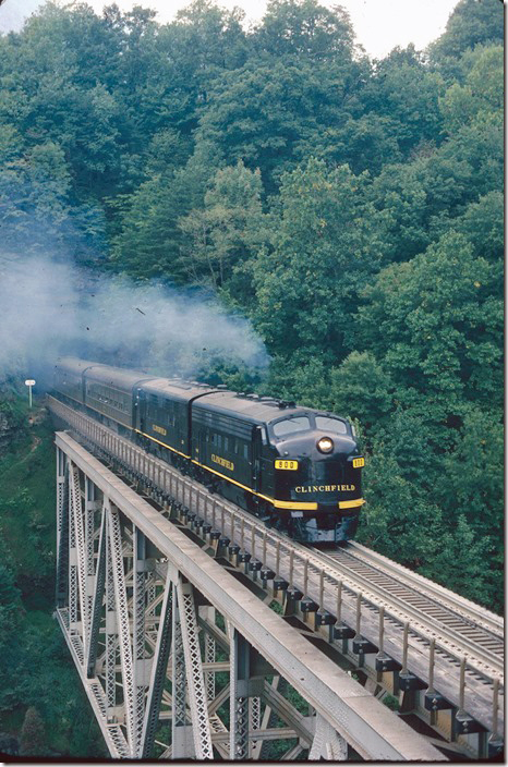 CRR 800-200 lead an excursion train on 09-24-1977. The train originated at Erwin, Johnson City, or Kingsport. Pool Point.