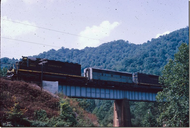 CRR 3022-866-3000 crossing Open Fork trestle at Nora VA with s/b Fremont Turn. 09-05-1971.