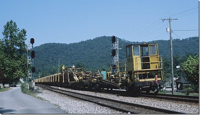 Westbound rail train F041 passes Beaver Jct. at Dwale, Ky. 8-25-12.