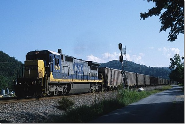 Back over at Beaver Jct., we catch this westbound AEPX coal train behind single 7644. 8-25-12.