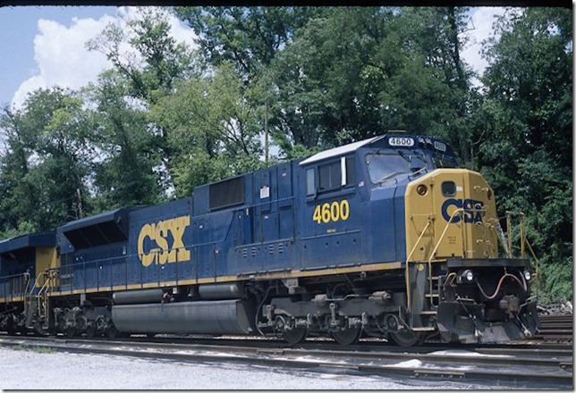 SD80MAC 4600 at Shelby on 7-22-12. This is an ex-Conrail unit.
