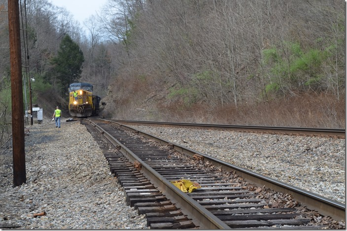 The derail has been opened. CSX 347-3162-3298-483. McClure VA.