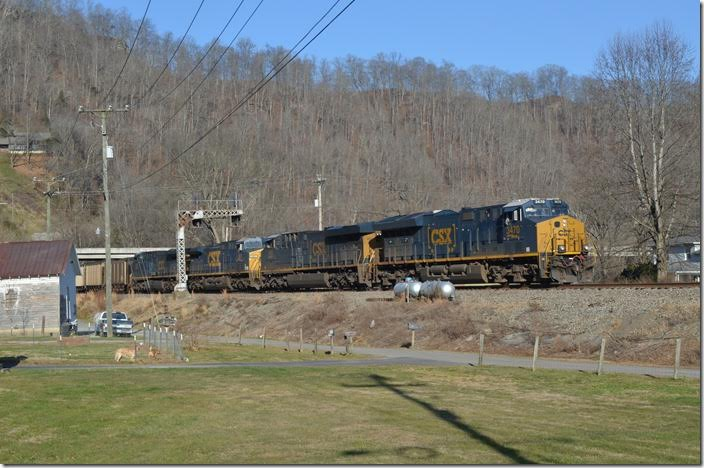CSX has resumed running Duke Energy coal trains south on the Big Sandy-Kingsport-Blue Ridge Subdivision route. They go to the Brice Power Plant south of Bostic NC, on the old Clinchfield. CSX doesn't use manned pushers anymore out of Shelby. These Duke trains use distributed power...two on the front and two on the back. Dec. 16 was a Saturday, so I now had the opportunity to go up to Shelby to see how this operation worked. N760-14 with 110 DKPX loads behind CSX 3470-980-561-426 moves from Track 2 to the switching lead at Fords Branch.