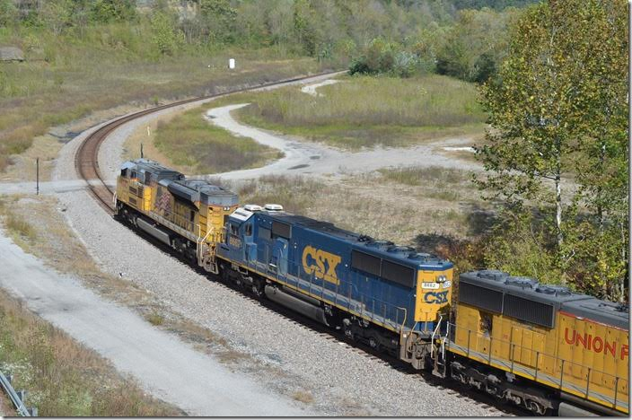 This was once the site of Chapparal Coal's preparation plant. CSX 8662-UP 8643. FO Cabin KY.