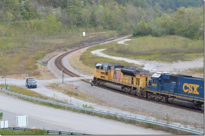 The conductor finally arrives. He informs the dispatcher that there are loads on the rear and empties on the front of the train where they are not supposed to be according to the print-out. They will need to do some re-arranging at Pauley siding-Coal Run Junction. UP 8643-8662. FO Cabin KY.