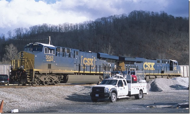 CSX 3043-844 are parked on the east leg of the wye at the former Paintsville depot. 1-11-2014. View 2.