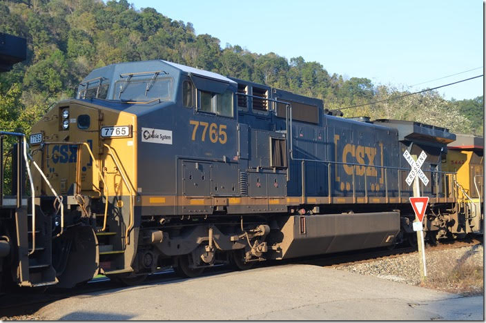 Note the Chessie System sticker! CSX 7765, C40-8W. Betsy Layne KY.